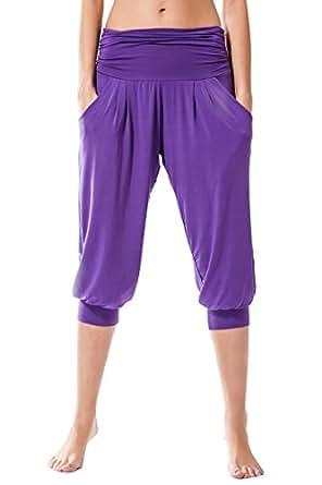 Pantaloni Donne Fitness, Rabi Sternitz, ideale per pilates, yoga e qualsiasi sport, tessuto di bambù, ecologico e morbido. Pantaloni pescatore o tipo larghi. molto confortevole (Small, Viola)