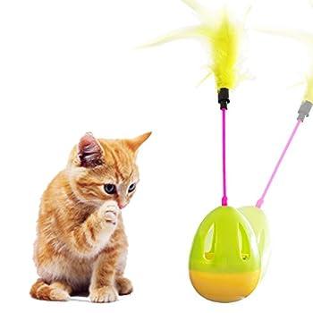 Jouet pour Chat, Tumbler Kitten Toys, jeu interactif chat, Tumbler Kitten Toys avec plumes