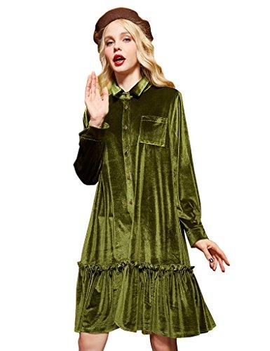 Elf Sack Womans Sommerkleider Lange Ärmel Samt Poloshirt Samtkleid Kleider Grün (Elf Kleider)