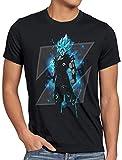 style3 Son-Goku Z Blue Herren T-Shirt god Modus Evolution Saiyajin Dragon, Größe:L