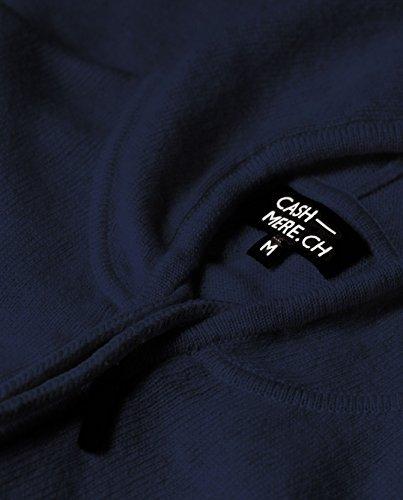100% Kaschmir Damen Kapuzenpullover | Hoodie mit Reißverschluss (Blau / Marine, S) - 4