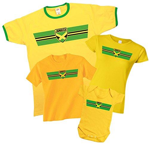 JAMAICA Patriotic Retro Strip T-Shirt *Scegliere Tra Mens Donne Bambini e Neonati* Giallo