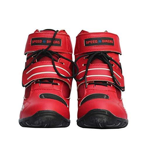 Moto di Cuoio Stivali blindate Scarpe Leggeri Moto Traspiranti Stivali da Corsa da Strada Uomini E Donne Cavalieri Stivali Corta Scarpe da Montare per Montare (Dimensioni: 38-45 e 3 colori)