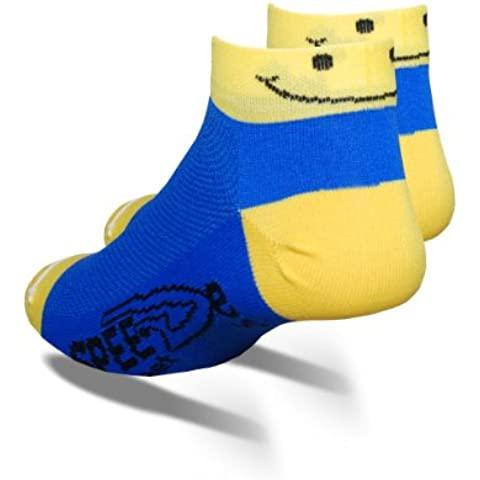 DeFeet - Calzini Speede, motivo: Smiley, misura L, colore: blu/giallo