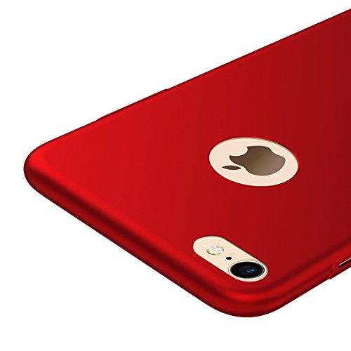 Rot / RED Sehr Dünn Hülle Schutzhülle Case + Displayschutzfolie für Apple iPhone 7 Vooway® MS70341