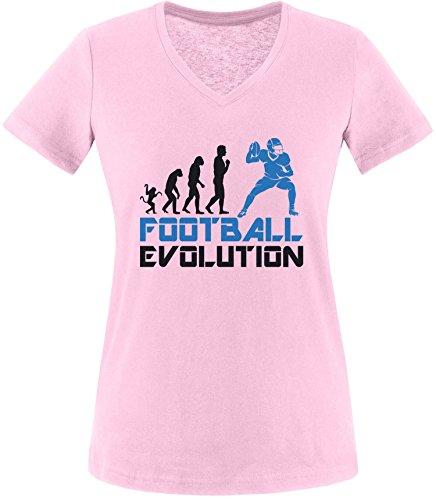 EZYshirt® Football Evolution Damen V-Neck T-Shirt Rosa/Schwarz/Blau