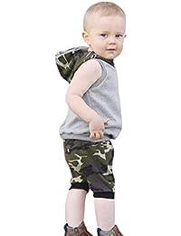 ❤️Conjunto niños, Tefamore Baby Sleeveless Flowers Striped Tops + Pantalones Set de dos piezas Semana Santa 12 Mes - 2 Años (Gris, 12-18 meses)