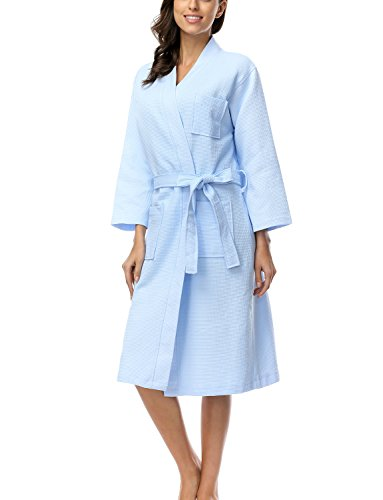 - 41ur3k7kUsL - BELLOO Women Cotton Waffle Bathrobe Light Weight Dressing Gown