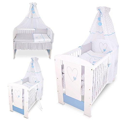Berceau bebe lit bébé cododo 120 x 60 cm cœur bleu avec Set de lit complè