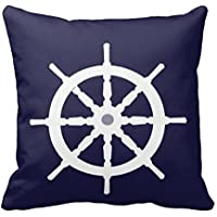 karilshop blanco rueda de barcos Náuticas azul marino blue001lino manta funda de almohada Funda de cojín casa sofá decorativo 18x 18pulgada.