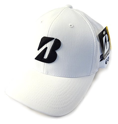 new-bridgestone-tour-white-black-fitted-flex-fit-s-m-golf-hat-cap-by-bridgestone