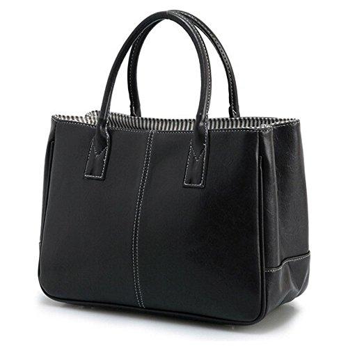 DELEY Mode Damen Einfaches Design Business Henkeltasche Handtasche Büro Umhängetasche Schwarz