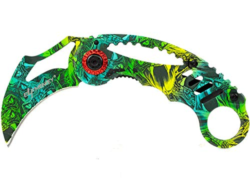 ELFMONKEY Karambit Klappmesser extra Scharf Taschenmesser Einhandmesser Rettungsmesser Angelmesser Jagdmesser Survival Outdoor Messer in Einem schönen CS-GO Design