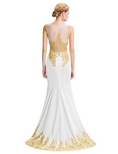 Grace Karin Etui Meerjungfrau Langes Ballkleid Abendkleid GK026 Weiß