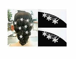 6 épingles à cheveux coiffure mariage - Etoile flocon givre - bijoux de cheveux crystal