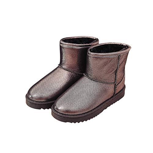 Frauen Wasserdicht Winterstiefel (SIKESONG Der Klassiker Von Frauen Pu Leder Warme Winter Stiefel Wasserdicht Baumwolle Schuhe Damen Slip Flache Ankle Boots, Grau, 5)