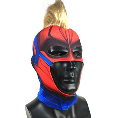 QWEASZER Captain Marvel Maske Erwachsene Frauen Cosplay Hero Lady Kostüm Captain Marvel Helm mit Perückenhaar,Marvel Avengers Captain Marvel - Lady Marvel Kostüm