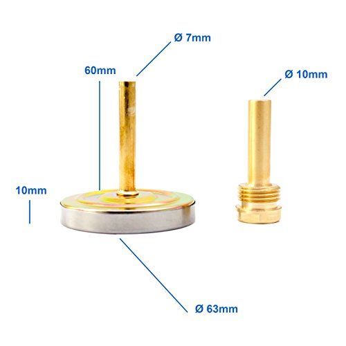 Lantelme Bimetall Analog G 1/2 ' Gewinde 120 °C Grad Silber Thermometer für Heizung – Lüftung – Sanitär – Wasser . Made in Germany, Farbe / Gehäuse:silber / Metallgehäuse - 4