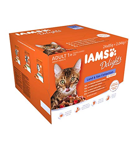 Iams Delights Land and Sea Collection Nassfutter (für erwachsene Katzen, mit verschiedenen Fleisch- und Fisch-Sorten in Sauce, Multibox) 24 Frischebeutel (24 x 85 g)