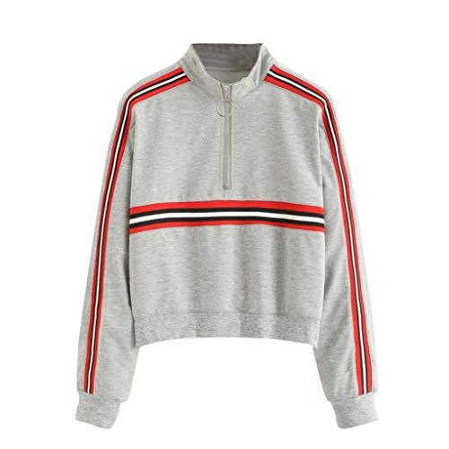 Damen Pullover, HUIHUI Kapuzenpullover Classic Hoodie Training Women Sweatshirt Kaschmir Pullover Elegant T-Shirt Blouse Tops (Grau,XL (EU:38-40)) -
