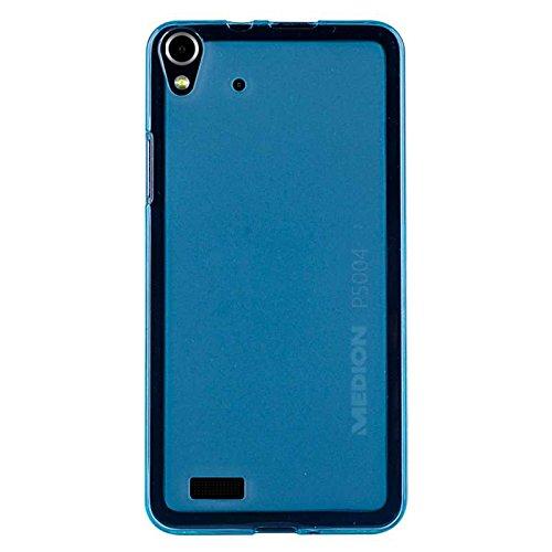 caseroxx Hülle/Tasche TPU-Hülle blau + Displayschutzfolie für Medion Life P5004, Set bestehend aus TPU-Hülle und Displayschutzfolie