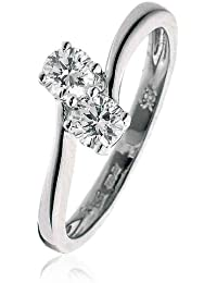 0.45CT Certified G/VS2 Round Brilliant Cut Claw Set Two Stone Twist Diamond Ring in 18K White Gold