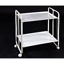 Carrito Camarera Plegable armazón metálico Color Blanco Dos bandejas Blancas