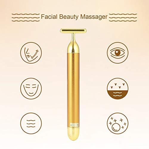 Kleine Größe Gesichtsschönheit Werkzeug Gesichtsmassagegerät T Form Gesichtsschönheitspflege Vibration Gesichtsschönheitsmassager Energie Vibrationsstab (golden) (Antimikrobiellen Oberfläche)