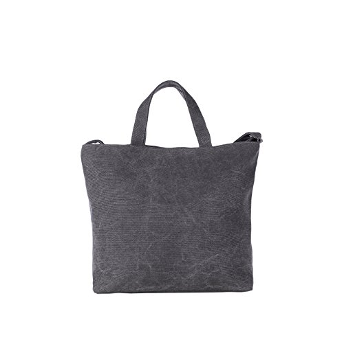 DonDon Borsa in canvas nera shopper con manico e bretelle zaino vintage 46 x 32 x 13 cm Antracite