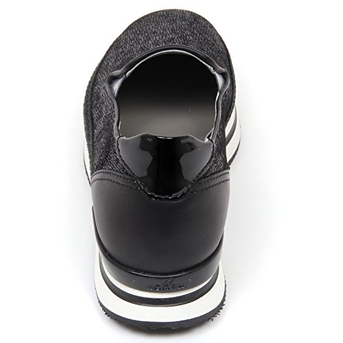D0286 Mocassino Donna Hogan H222 Sneaker Pantofola Corda Nero Chaussures Femme Nero