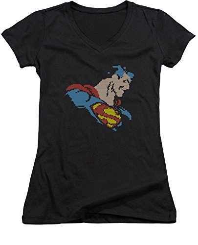 superman-lite-brite-ladies-junior-fit-v-neck-t-shirt