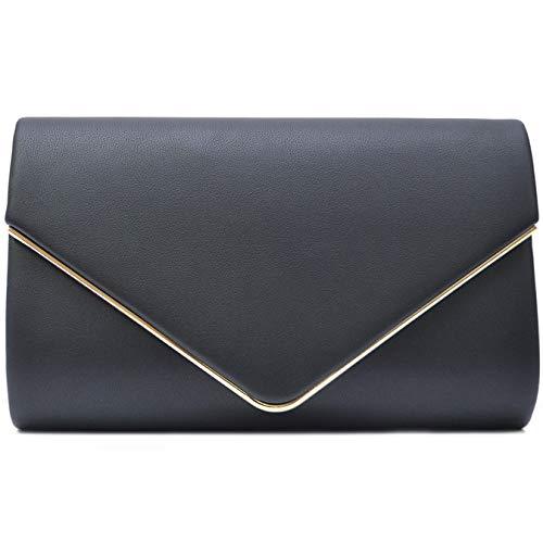 Vain Secrets Damen Umhänge Tasche Clutch Abendtaschen in vielen Farben (22 cm Lang - 13 cm Hoch - 6 cm Breit, Black PU) -