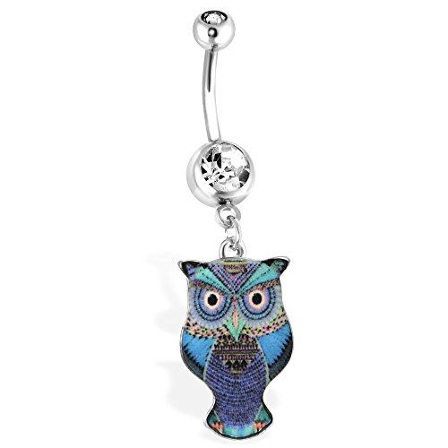Blau Eule Navel Ring mit Azteken Design, 14GA