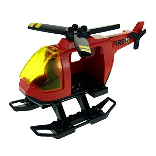 1 x Lego Duplo Hubschrauber rot schwarz Feuerwehr fire Heli Helicopter groß mit Kufen für Set 4967 6346 52932 6345 6343pb04