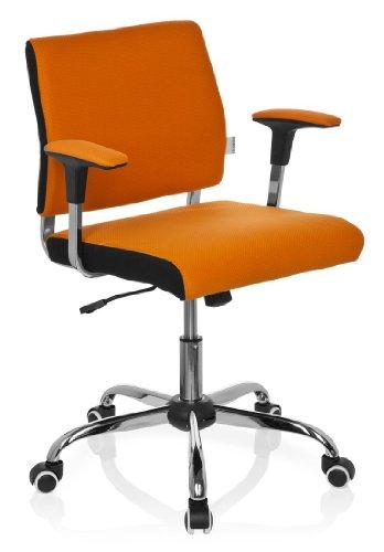 Orange Stoff Mit Einem Ergonomischen Stuhl (hjh OFFICE 719120 Home-Office Bürostuhl AVIDA Stoff Orange Drehstuhl mit niedriger Rückenlehne, gepolstert, mit Armlehnen)