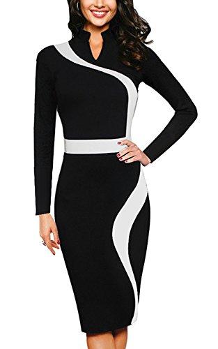 Homeyee Frauen elegante Revers Schwarz dünnes Abend-Party-Geschäfts, figurbetontes Kleid B320 Schwarz + Hülse