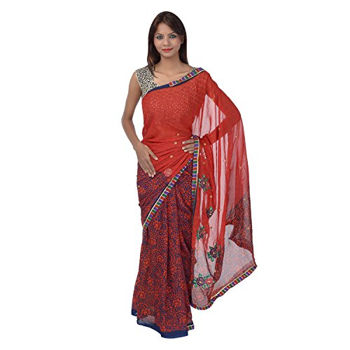 Saundarya Sarees Women Chiffon Printed Red and Blue Saree