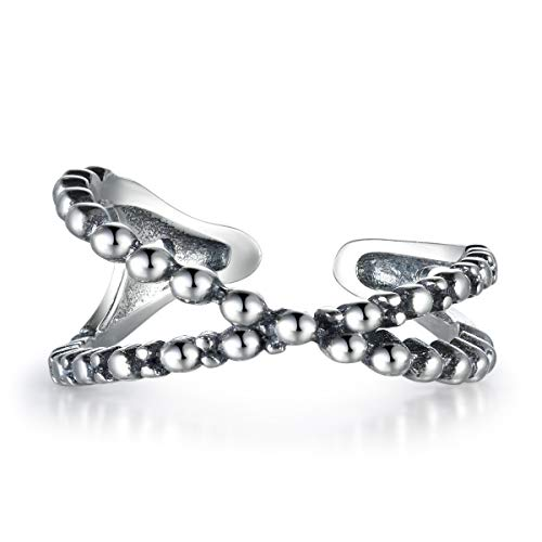 snorso 925Sterling Silber Criss Cross gedrehtes Seil X Ring Versprechen Ewigkeit Stapeln, Ring für Frauen - Criss Cross Frauen Ring