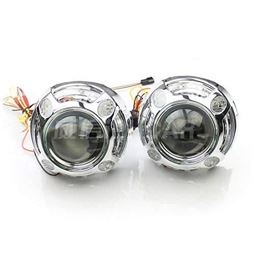 ZHUOYUE 2 Stücke Auto Styling 3 Zoll Panamera Shroud Bi-Xenon Hid Projektor Objektiv Kit,White,Lefthanddrive