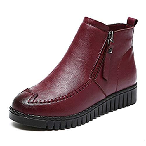 Frauen Stiefeletten Plattform Außerhalb Reißverschluss Schuhe Winter Runde Kappe Feste Beiläufige Plüsch Einlegesohle Warme Schneeschuhe