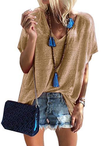Sexy Tunika Tops (T-Shirt Damen Ärmellos V-Ausschnitt Bluse Solide Tunika Sommer Tops Khaki DE 38)