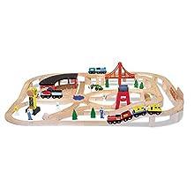 Melissa & Doug Wooden Railway Set (Vehicles, High-Quality Construction, 130 Pieces, 43.18 cm H x 12.7 cm W x 71.12 cm L)
