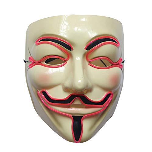 QTBWen Beste Wahl Fashion EL Draht Gesichtsmaske V für Vendetta Maske Halloween Cosplay Party Guy Fawkes Anonymous Glow LED Masken im feinen Stil Rose