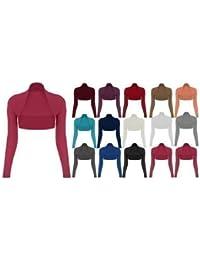 Para mujer niñas manga larga Bolero, Bolero chaqueta recortada parte superior–todos los colores