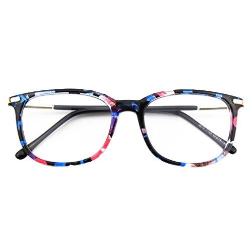 CGID CN79 Klassische Nerdbrille ellipse 40er 50er Jahre Pantobrille Vintage Look clear lens,Mehrfarbig B