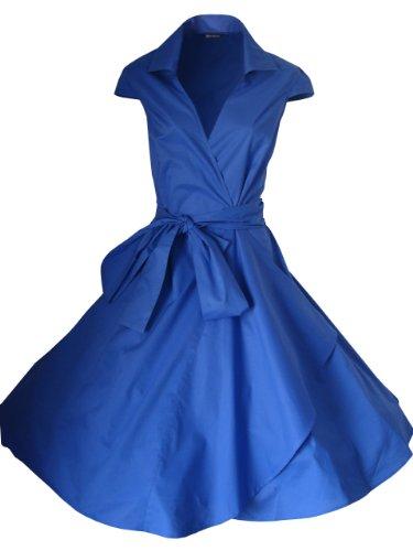 LOOK FOR THE STARS Retro Vintage Kleid Abend Party 50er Jahre Stil Rockabilly / Sommerkleid/Cocktailkleid, Größen EU 34-52 Königsblau