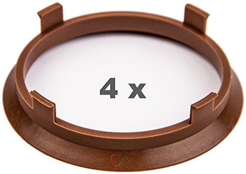 4 x Zentrierringe 71.6 mm auf 66.1 mm braun/brown