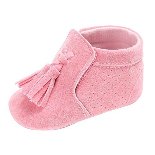 Pour 0-18 mois Bébé,Transer ® Bébé fille garçon doux berceau unique Toddler Tassel Sneakers Rose