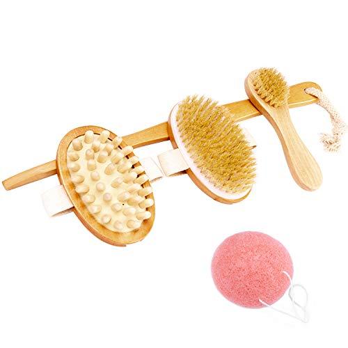 Omew Badebürste Set Rückenbürste Gesichtsbürste mit Massage Funktion Verbesserung des Blutkreislaufs Massagebürste für Trockene Haut Bonus Konjac Schwamm