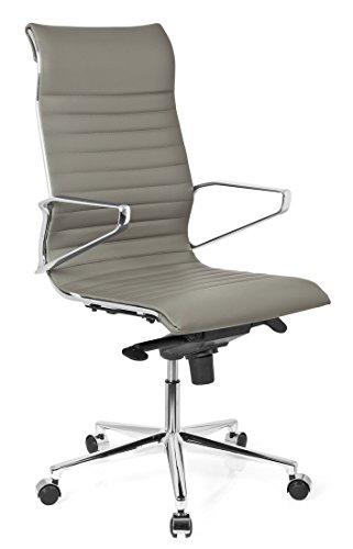 hjh OFFICE 720025 Bürostuhl Chefsessel Pariba I Leder grau, hohe Rückenlehne, ergonomischer Bürostuhl, Schreibtischstuhl, feste Armlehnen, echt Leder, Drehstuhl, Chefsessel, gute Einstellmöglichkeiten (Gutes Leder)